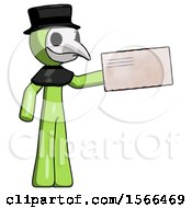 Green Plague Doctor Man Holding Large Envelope
