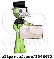 Green Plague Doctor Man Presenting Large Envelope
