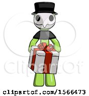 Green Plague Doctor Man Gifting Present With Large Bow Front View