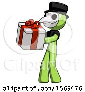 Green Plague Doctor Man Presenting A Present With Large Red Bow On It