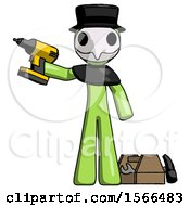 Green Plague Doctor Man Holding Drill Ready To Work Toolchest And Tools To Right