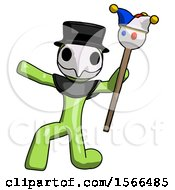 Green Plague Doctor Man Holding Jester Staff Posing Charismatically
