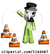 Green Plague Doctor Man Standing By Traffic Cones Waving