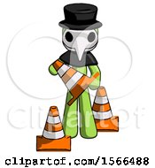 Green Plague Doctor Man Holding A Traffic Cone