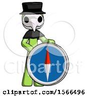 Green Plague Doctor Man Standing Beside Large Compass