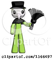 Green Plague Doctor Man Holding Feather Duster Facing Forward