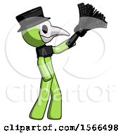 Green Plague Doctor Man Dusting With Feather Duster Upwards