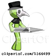Green Plague Doctor Man Walking With Large Thermometer