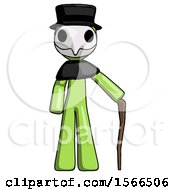 Green Plague Doctor Man Standing With Hiking Stick