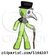 Green Plague Doctor Man Walking With Hiking Stick
