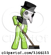 Green Plague Doctor Man Cleaning Services Janitor Sweeping Side View