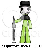 Green Plague Doctor Man Standing With Large Thermometer