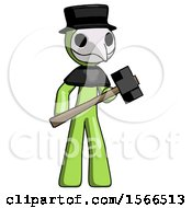 Green Plague Doctor Man With Sledgehammer Standing Ready To Work Or Defend