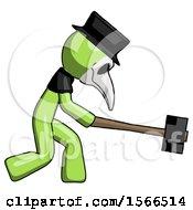 Green Plague Doctor Man Hitting With Sledgehammer Or Smashing Something