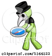 Green Plague Doctor Man Walking With Large Compass