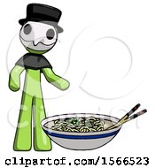 Green Plague Doctor Man And Noodle Bowl Giant Soup Restaraunt Concept