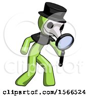 Green Plague Doctor Man Inspecting With Large Magnifying Glass Right