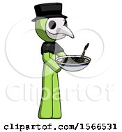 Green Plague Doctor Man Holding Noodles Offering To Viewer