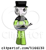 Green Plague Doctor Man Serving Or Presenting Noodles
