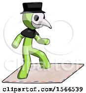 Green Plague Doctor Man On Postage Envelope Surfing