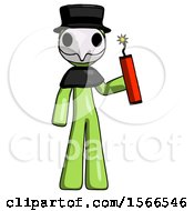 Green Plague Doctor Man Holding Dynamite With Fuse Lit