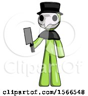 Green Plague Doctor Man Holding Meat Cleaver