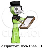 Green Plague Doctor Man Using Clipboard And Pencil