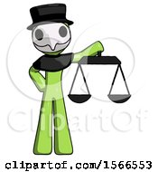 Green Plague Doctor Man Holding Scales Of Justice