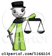 Green Plague Doctor Man Justice Concept With Scales And Sword Justicia Derived