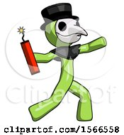 Green Plague Doctor Man Throwing Dynamite