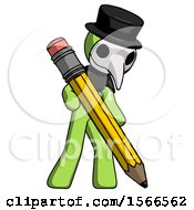 Green Plague Doctor Man Writing With Large Pencil