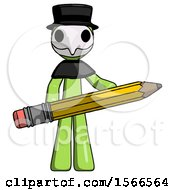 Green Plague Doctor Man Writer Or Blogger Holding Large Pencil