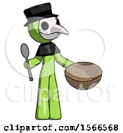 Green Plague Doctor Man With Empty Bowl And Spoon Ready To Make Something