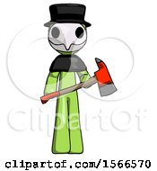 Green Plague Doctor Man Holding Red Fire Fighters Ax