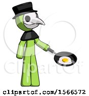 Green Plague Doctor Man Frying Egg In Pan Or Wok Facing Right