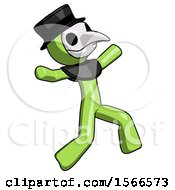 Green Plague Doctor Man Running Away In Hysterical Panic Direction Right