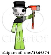Green Plague Doctor Man Holding Up Red Firefighters Ax