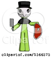 Green Plague Doctor Man Holding Large Steak With Butcher Knife