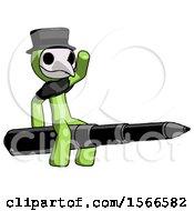 Green Plague Doctor Man Riding A Pen Like A Giant Rocket