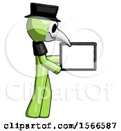 Green Plague Doctor Man Show Tablet Device Computer To Viewer Blank Area