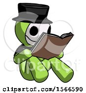 Poster, Art Print Of Green Plague Doctor Man Reading Book While Sitting Down