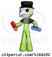 Green Plague Doctor Man Red Pill Or Blue Pill Concept
