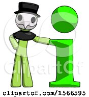 May 24th, 2018: Green Plague Doctor Man With Info Symbol Leaning Up Against It by Leo Blanchette