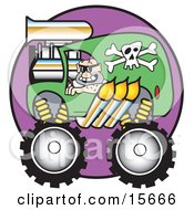 Man Driving A Big Green Monster Truck With A Skull And Crossbones Decal And Flames Coming Out Of The Muffler Clipart Illustration