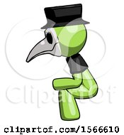 May 24th, 2018: Green Plague Doctor Man Squatting Facing Left by Leo Blanchette