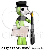 Green Plague Doctor Man Holding Large Envelope And Calligraphy Pen