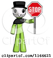 Green Plague Doctor Man Holding Stop Sign