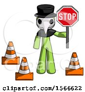 Green Plague Doctor Man Holding Stop Sign By Traffic Cones Under Construction Concept