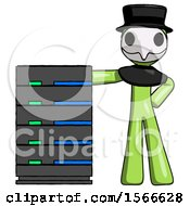Green Plague Doctor Man With Server Rack Leaning Confidently Against It