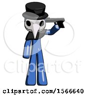 May 24th, 2018: Blue Plague Doctor Man Suicide Gun Pose by Leo Blanchette